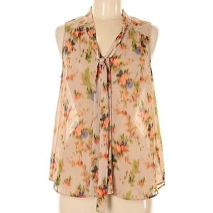 Halogen sheer tan top with abstract floral Large
